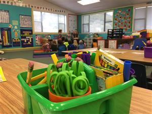 Kindergarten art supplies in a classroom