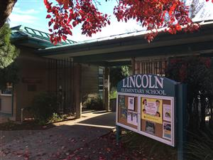 Lincoln Elementary entrance and sign